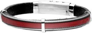 Manoki BA762C czerwona skórzana bransoleta męska czarna z linkami