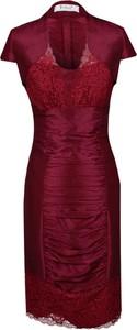 Sukienka Fokus z krótkim rękawem ołówkowa z dekoltem w kształcie litery v