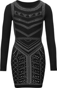 Czarna sukienka bonprix BODYFLIRT boutique z długim rękawem mini bodycon