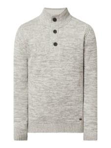 Sweter Petrol w stylu casual z bawełny ze stójką