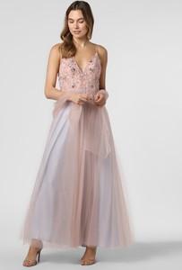 Różowa sukienka Unique z dekoltem w kształcie litery v z tiulu maxi