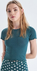 Bluzka Cropp z krótkim rękawem w stylu casual z okrągłym dekoltem