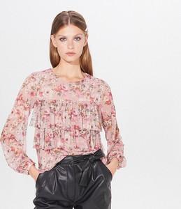 Różowa bluzka Mohito w stylu boho z okrągłym dekoltem