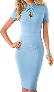 Niebieska sukienka Arilook z bawełny z krótkim rękawem