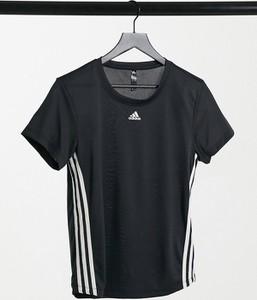 Czarny t-shirt Adidas Performance z krótkim rękawem z bawełny z okrągłym dekoltem