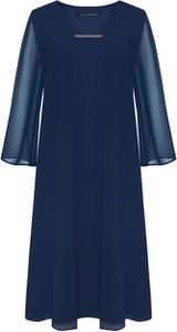Niebieska sukienka VitoVergelis z długim rękawem midi z szyfonu