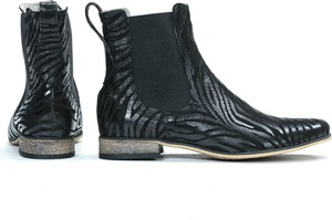 Granatowe botki Zapato ze skóry na obcasie