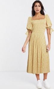 Sukienka Asos gorsetowa z krótkim rękawem