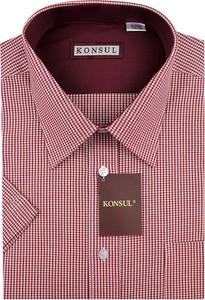 Fioletowa koszula Konsul z krótkim rękawem z bawełny