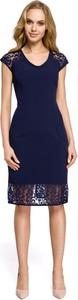 Niebieska sukienka MOE midi z krótkim rękawem