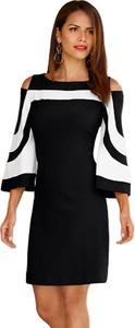 Czarna sukienka Elegrina z długim rękawem dopasowana mini