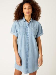Sukienka Wrangler z krótkim rękawem z jeansu mini