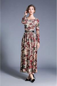 Sukienka Tina z długim rękawem maxi z dekoltem w łódkę