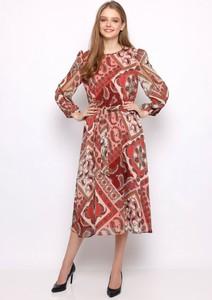 Czerwona sukienka Sererra Butik midi z szyfonu z okrągłym dekoltem