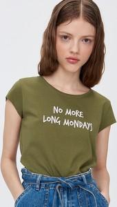 Zielony t-shirt Sinsay z krótkim rękawem w stylu casual