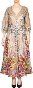 Sukienka Skills & Genes z długim rękawem dla puszystych z dekoltem w kształcie litery v