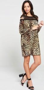 Sukienka V by Very mini z okrągłym dekoltem z długim rękawem