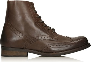 Brązowe buty zimowe Kazar sznurowane ze skóry