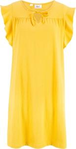 Żółta sukienka bonprix bpc bonprix collection oversize bez rękawów