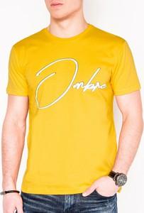 Żółty t-shirt Edoti z nadrukiem z krótkim rękawem