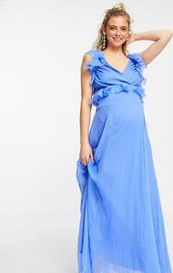 ASOS DESIGN Maternity – Niebieska sukienka maxi z falbaną i wiązaniem z tyłu-Niebieski
