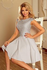 Srebrna sukienka NUMOCO z krótkim rękawem