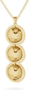 GIORRE Srebrny naszyjnik potrójne wypukłe blaszki srebro 925 : Kolor pokrycia srebra - Pokrycie Żółtym 18K Złotem, Powierzchnia blachy - Polerowana