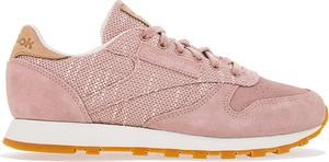 Różowe buty sportowe Reebok ze skóry z płaską podeszwą sznurowane