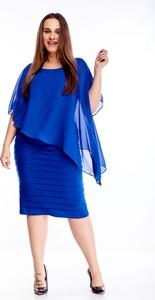 Niebieska sukienka N/A midi z okrągłym dekoltem dla puszystych