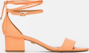 Pomarańczowe sandały Kazar ze skóry