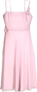 Różowa sukienka Fokus rozkloszowana z okrągłym dekoltem bez rękawów