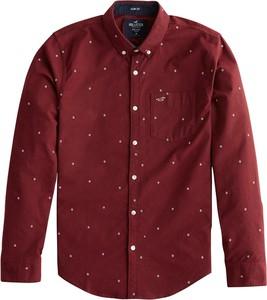 Czerwona koszula Hollister Co. z bawełny z kołnierzykiem button down z długim rękawem