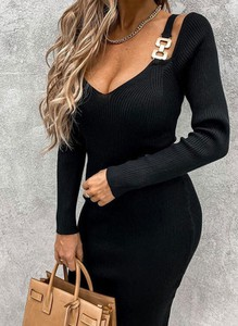 Czarna sukienka Arilook z długim rękawem w stylu casual z dekoltem w kształcie litery v