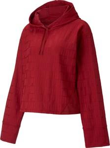 Czerwona bluzka Puma z długim rękawem w stylu casual z golfem