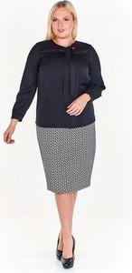 Czarna bluzka Fokus z długim rękawem w stylu klasycznym