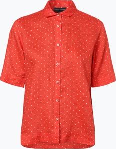 Pomarańczowa bluzka Franco Callegari z lnu z krótkim rękawem w stylu casual