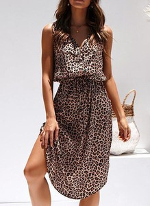 Brązowa sukienka Cikelly w stylu casual kopertowa midi