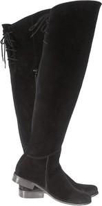 Czarne kozaki Lafemmeshoes za kolano z zamszu