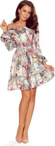 Sukienka NUMOCO z długim rękawem z dekoltem w łódkę