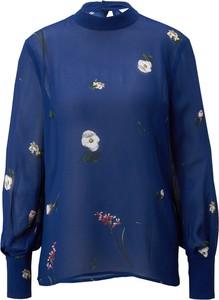 Niebieska bluzka Ivy & Oak z okrągłym dekoltem z szyfonu z długim rękawem
