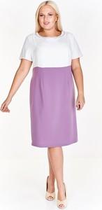 Fioletowa sukienka Fokus z krótkim rękawem z okrągłym dekoltem dla puszystych