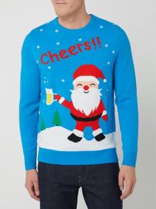 Niebieski sweter Montego w młodzieżowym stylu z okrągłym dekoltem