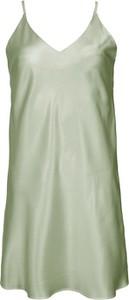 Zielona sukienka So Fluffy mini z dekoltem w kształcie litery v z jedwabiu