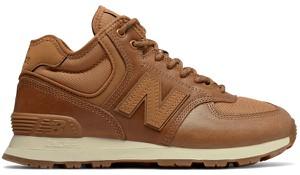 Brązowe buty sportowe New Balance w sportowym stylu ze skóry