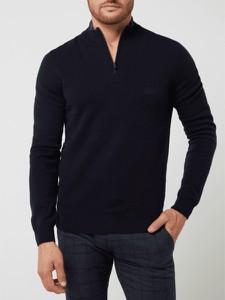 Granatowy sweter Hugo Boss w stylu casual ze stójką