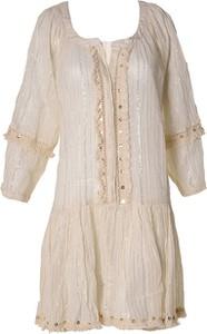 Sukienka Boho Style z okrągłym dekoltem z bawełny mini