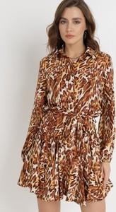 Brązowa sukienka born2be z tkaniny mini z długim rękawem