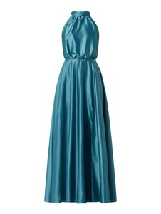 Sukienka Swing bez rękawów z dekoltem w kształcie litery v z satyny