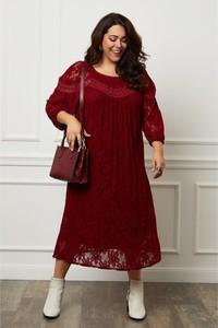 Czerwona sukienka Curvy Lady z długim rękawem maxi