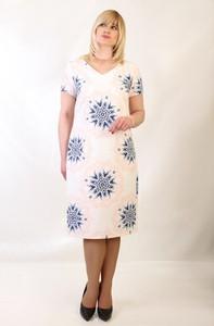 Sukienka Oscar Fashion midi z dekoltem w kształcie litery v dla puszystych